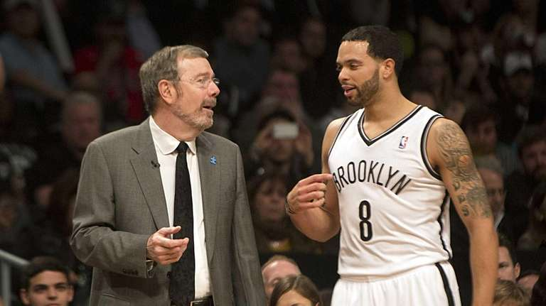 Nets' interim coach PJ Carlesimo talks with Deron