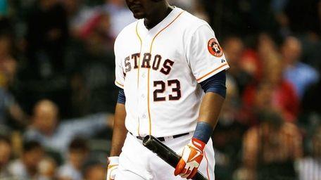 Chris Carter of the Houston Astros walks to