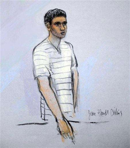 This courtroom sketch shows defendant Robel Phillipos appearing