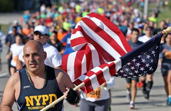 A runner in a Long Island Marathon event