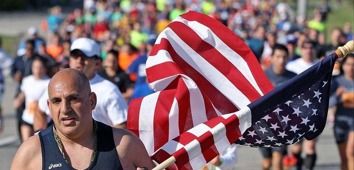 A runner in a Long Island Marathon event
