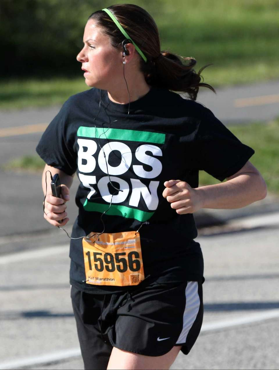 A runner in the Long Island Marathon wears