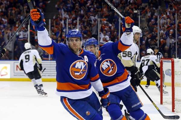 John Tavares celebrates his game-tying third period goal