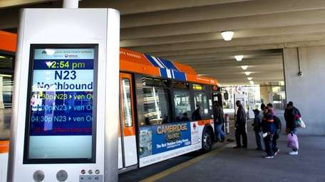 The bus station in Mineola is pictured. (May