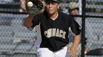 Commack's Nick Cebellaro makes the catch for an