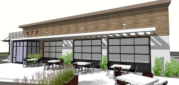 A rendering of an unnamed restaurant, located at
