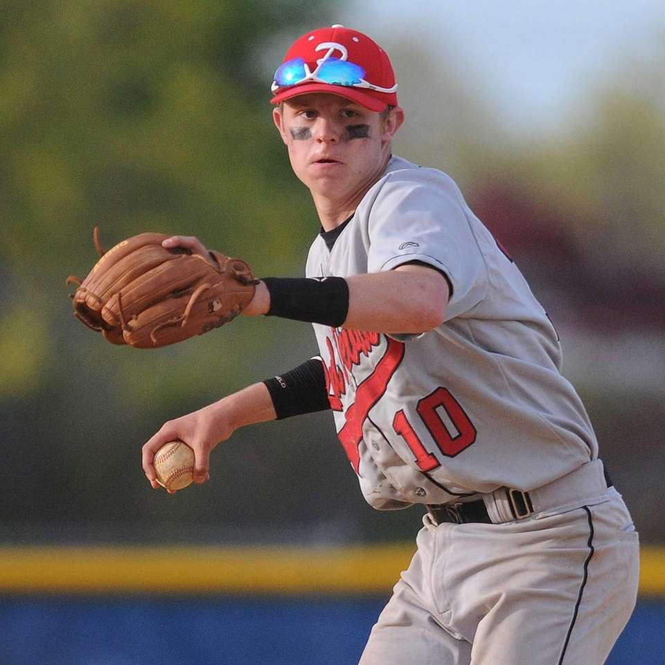 Plainedge shortstop Jimmy Mendyk sets himself before throwing