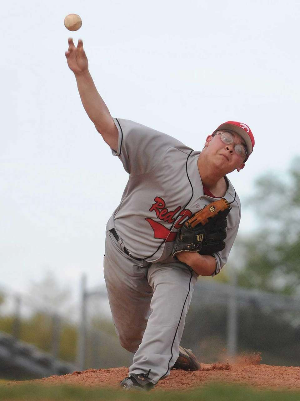 Plainedge pitcher Justin Trigo delivers to the plate