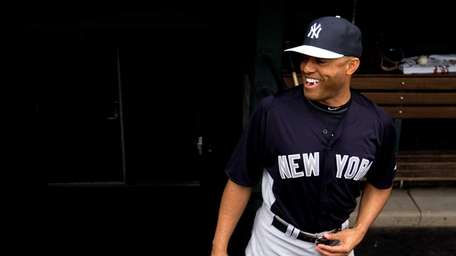 Mariano Rivera of the Yankees laughs in the