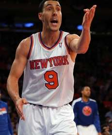 Knicks guard Pablo Prigioni reacts after he a