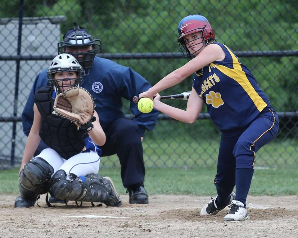 Shoreham-Wading River's Chelsea Hawks goes after a fastball