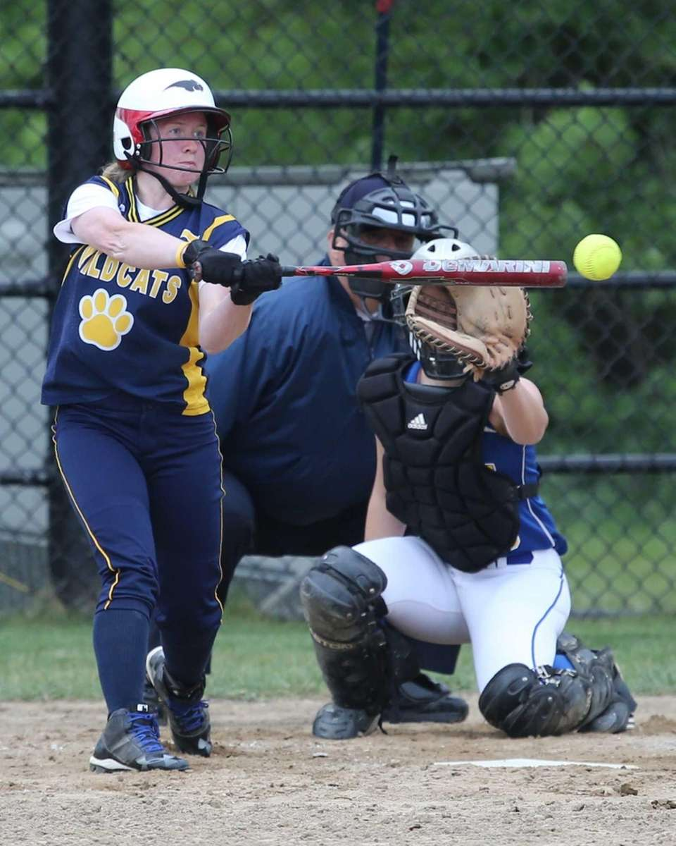 Shoreham-Wading River's Caitlin Mirabell bats against Mattituck. (May