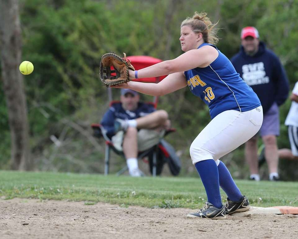 Mattituck's Courtney Ficner snags the ball for the