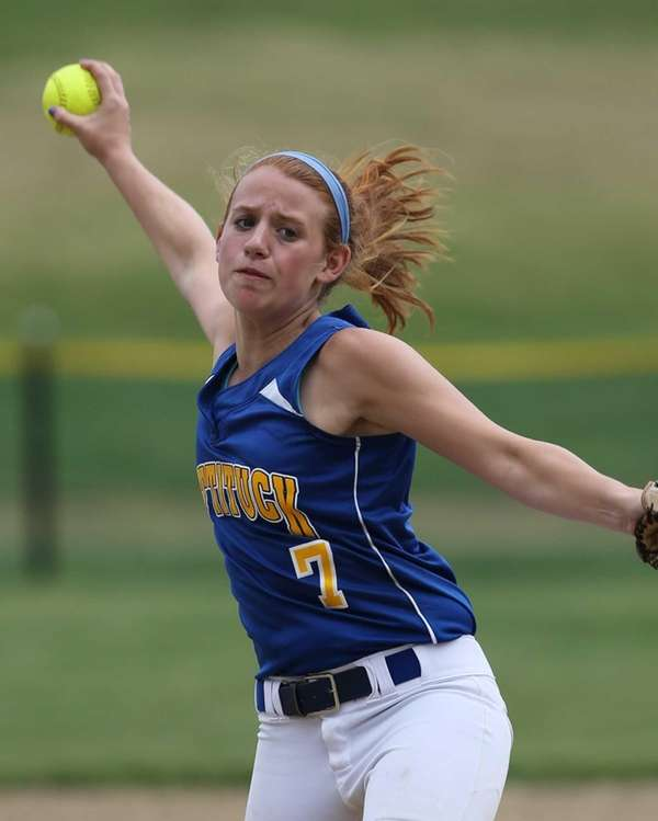Mattituck's Sara Perkins delivers the pitch to Shoreham-Wading
