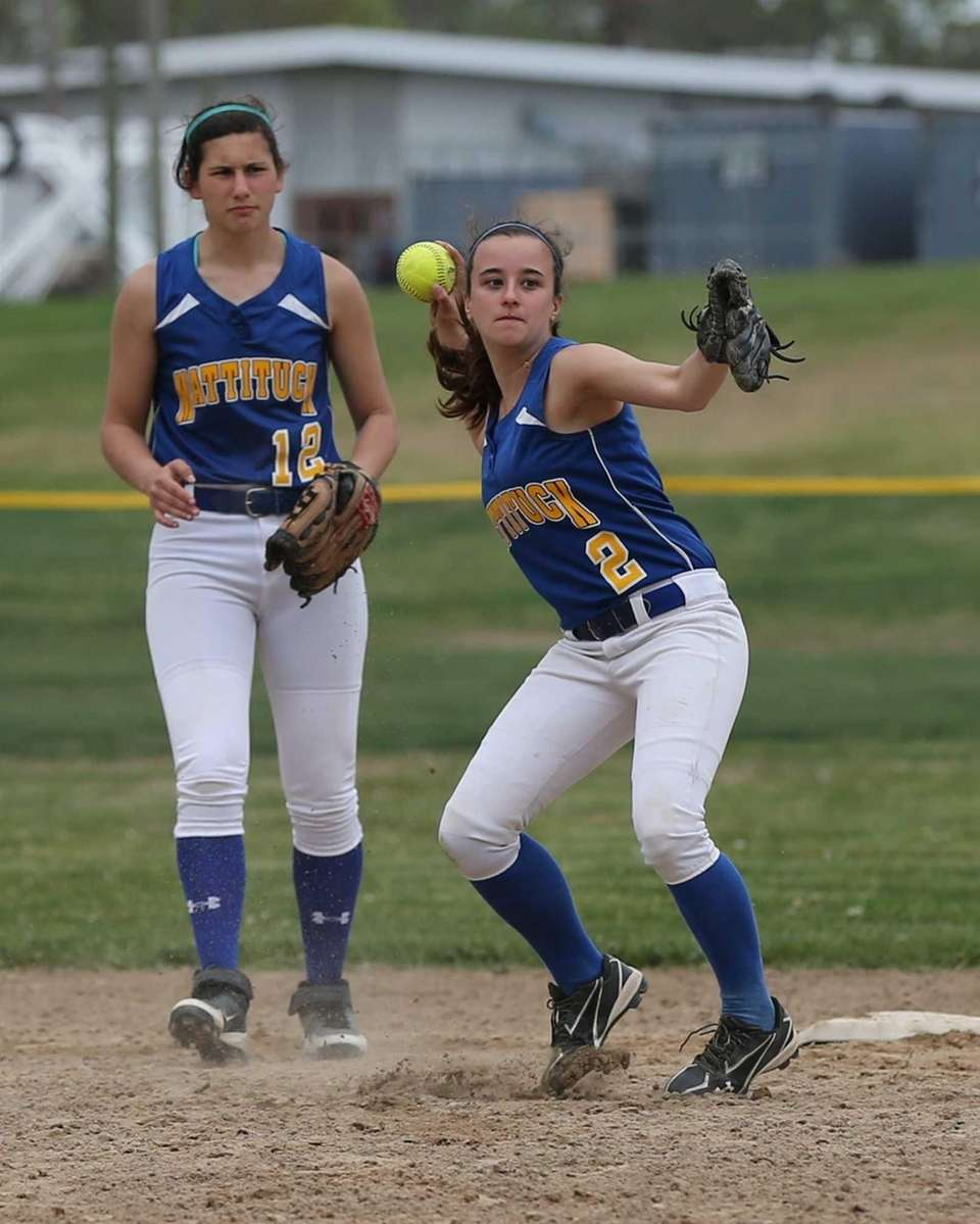 Mattituck second baseman Cassie Pelan makes the throw