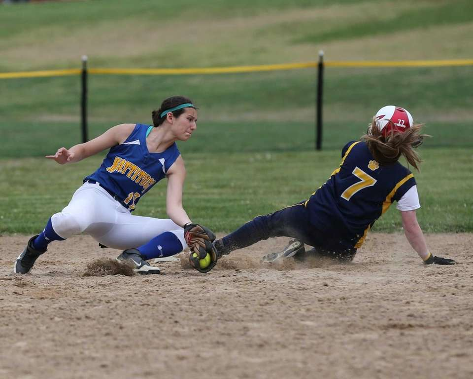Shoreham-Wading River's Caitlin Mirabell is safe at second
