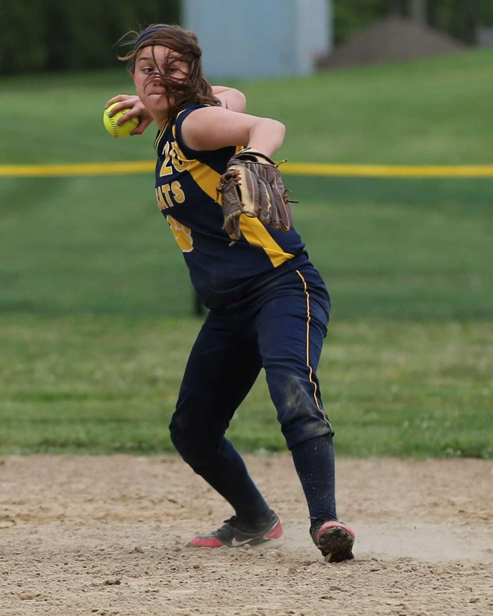 Shoreham-Wading River's Brittany Mahan makes the throw to