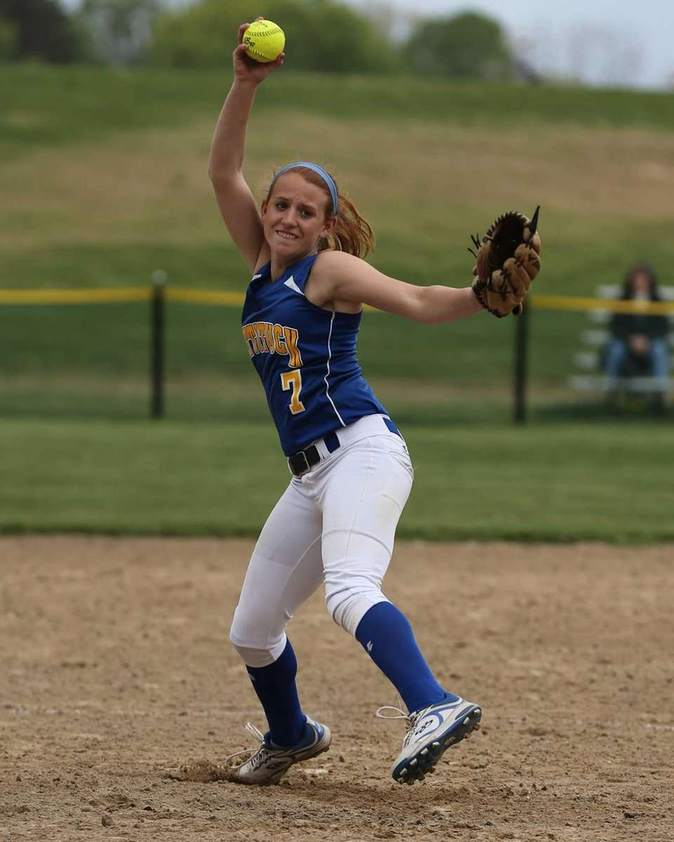 Mattituck's Sara Perkin delivers the pitch to Shoreham-Wading