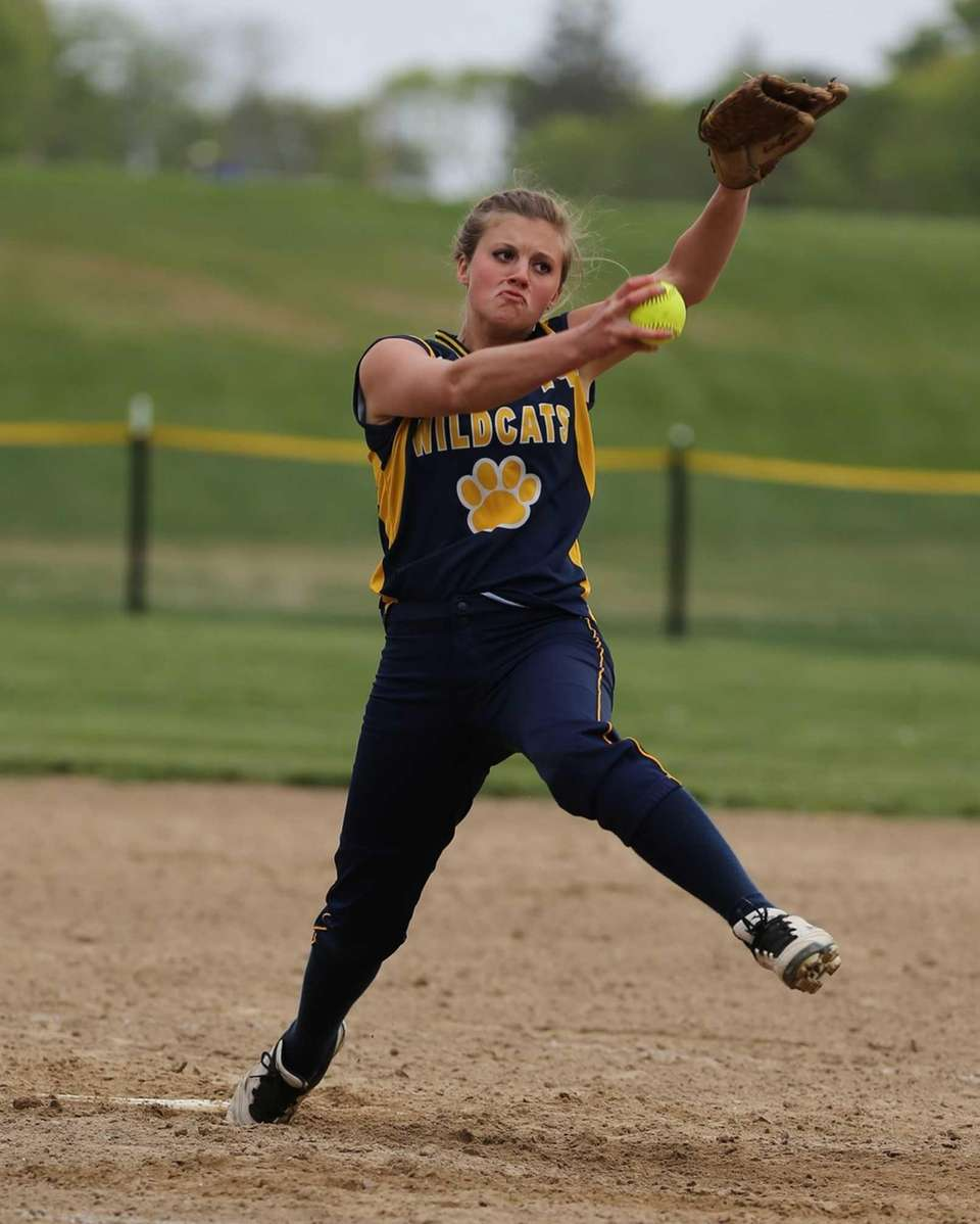 Shoreham-Wading River's Chelsea Hawks delivers the pitch against