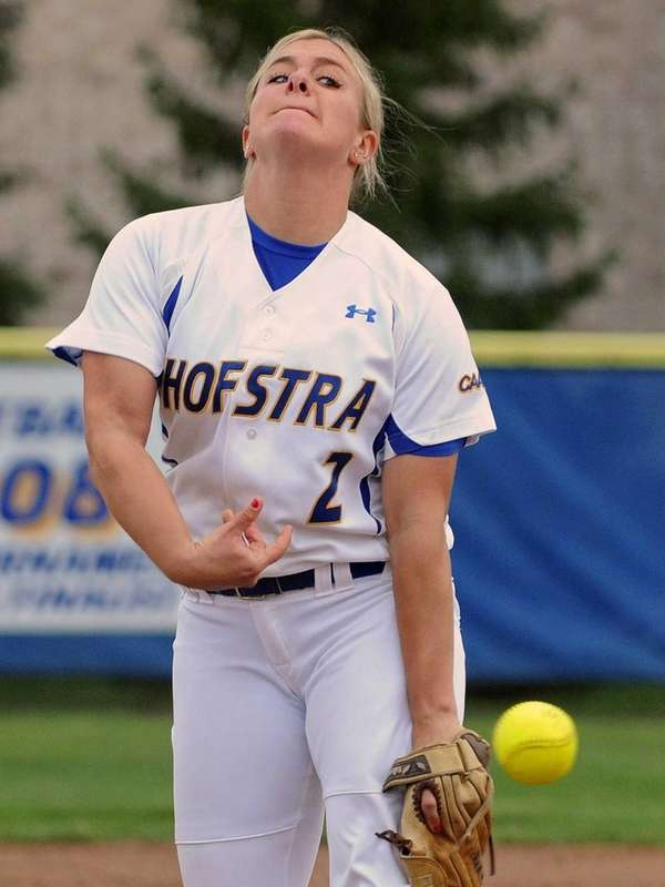 Hofstra pitcher Olivia Galati delivers to the plate