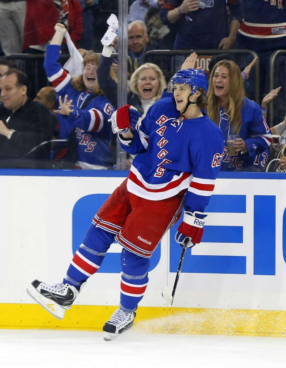 Carl Hagelin of the Rangers celebrates his second