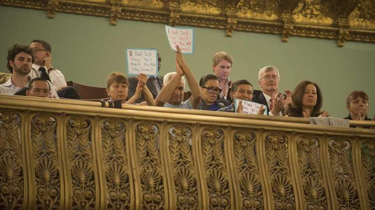 Supporters of the Paid Sick Leave legislation attend