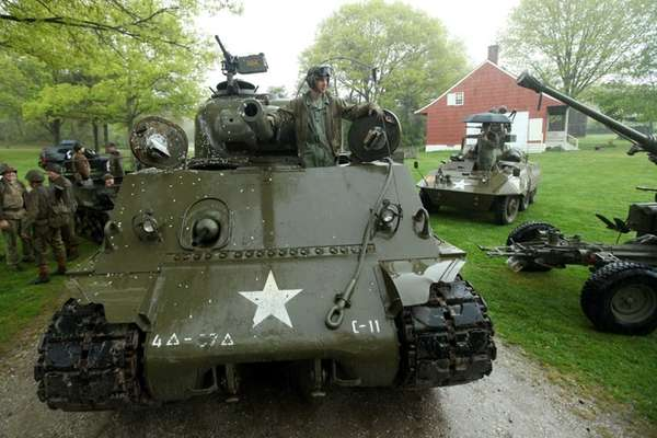 World War II armored vehicles advanced onto the