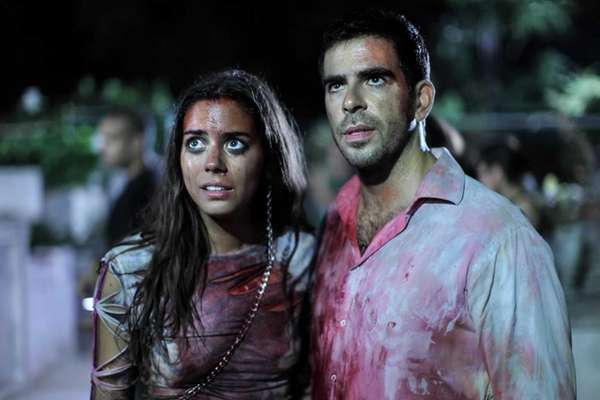 "Lorenza Izzo and Eli Roth in ""Aftershock."""