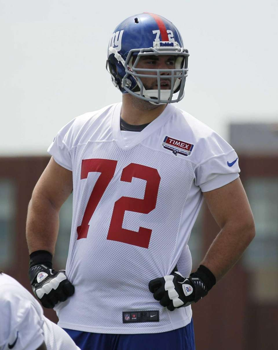 Tackle Justin Pugh looks on during Giants mini
