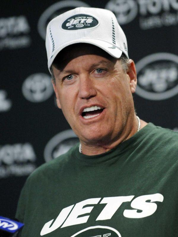 Jets coach Rex Ryan speaks to the media