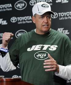 Jets coach Rex Ryan speaks to the media