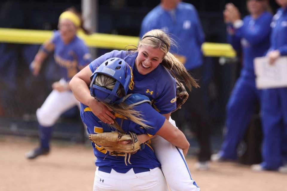 Hofstra's Olivia Galati celebrates with catcher Erin Trippi