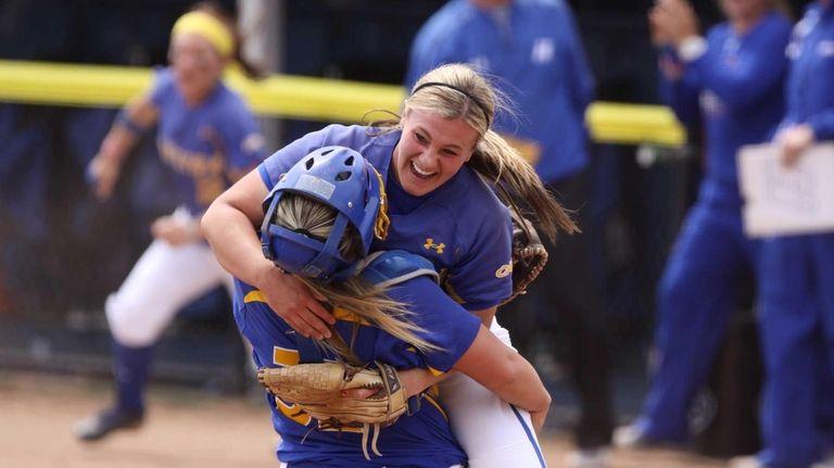 Hofstra's Olivia Galati celebrates with catcher Erin Trippi
