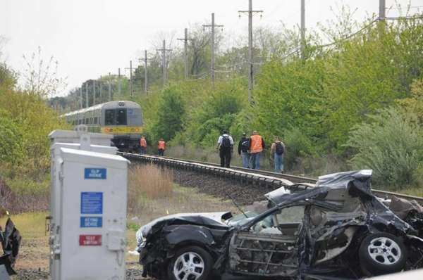 A Long Island Rail Road train struck a