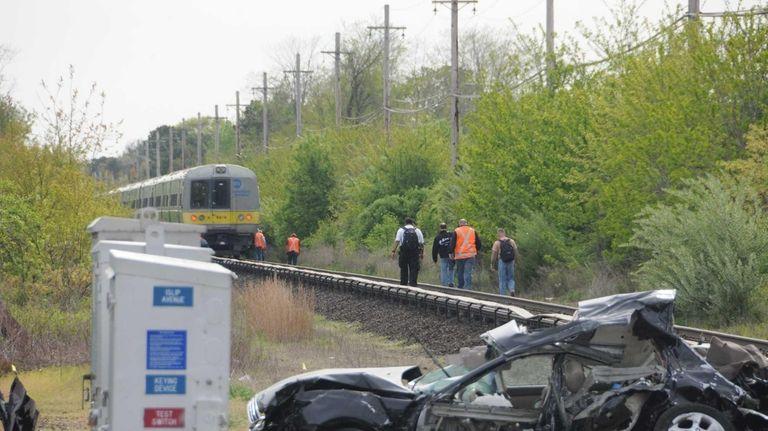 A Long Island Rail Road train struck a