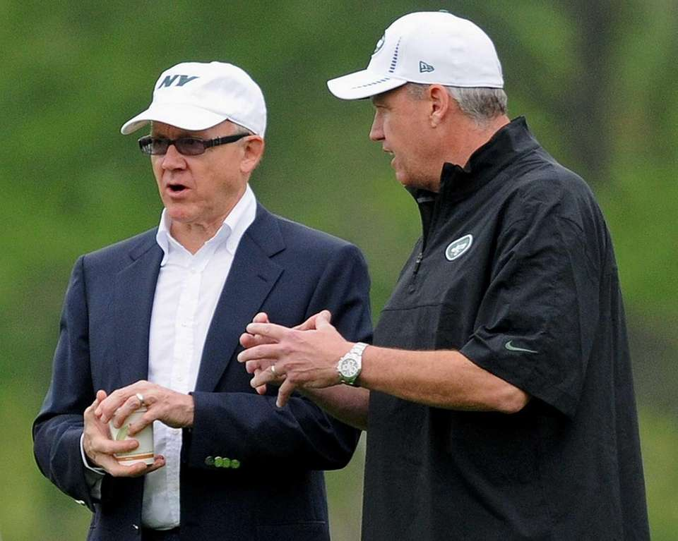 Jets owner Woody Johnson, left, and head coach