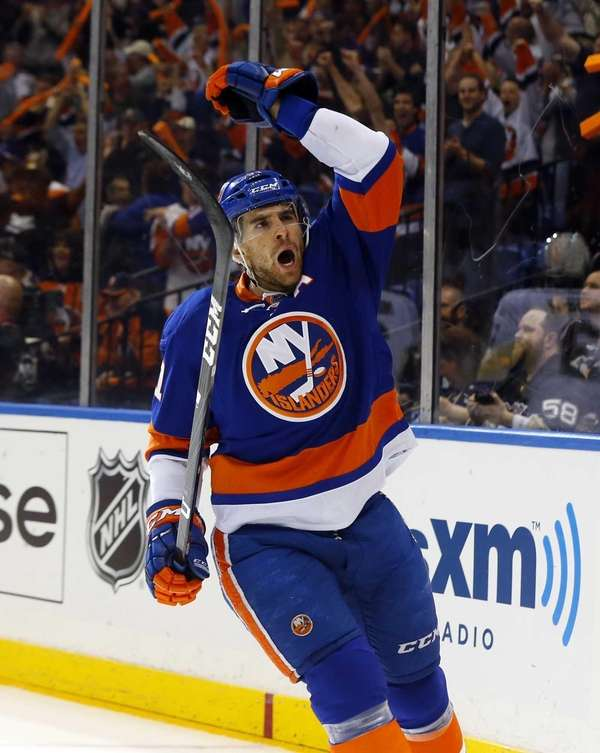 John Tavares of the Islanders celebrates his first