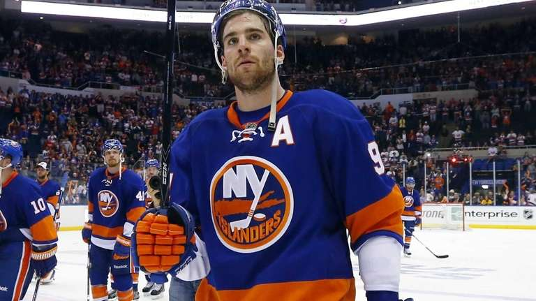 John Tavares of the Islanders looks on as