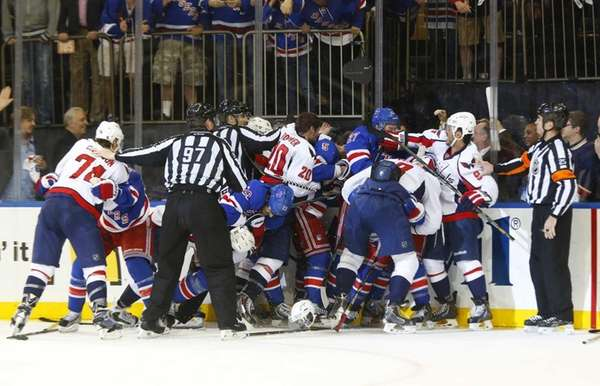 The Capitals and Rangers mix it up after