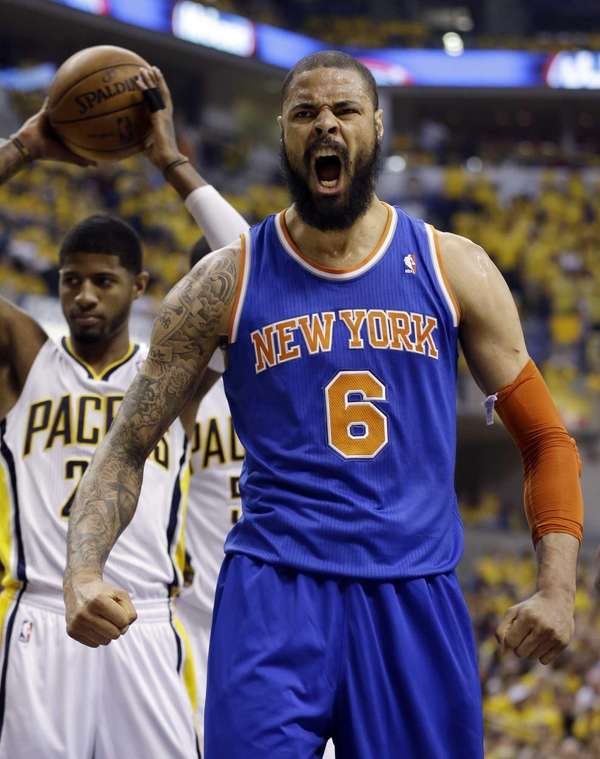 Tyson Chandler reacts in front of the Indiana