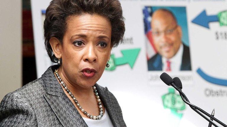 U.S. Attorney Loretta Lynch announces the indictment of