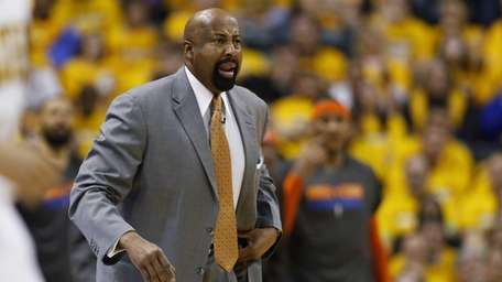 Mike Woodson looks on during Game 3 of