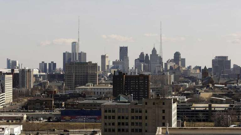The skyline of the city of Detroit. (March