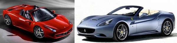 The Ferrari Spider 485, left, and the Ferrari