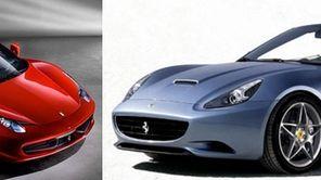 The Ferrari Spider 485, left, and the Ferrari