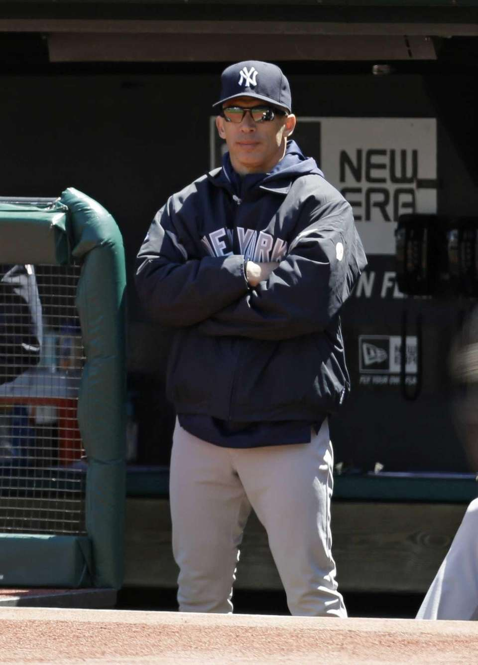 Yankees manager Joe Girardi watches in the first