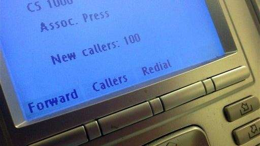 The screen on the phone console at the