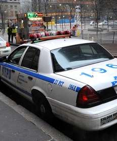 An NYPD patrol car is shown in this