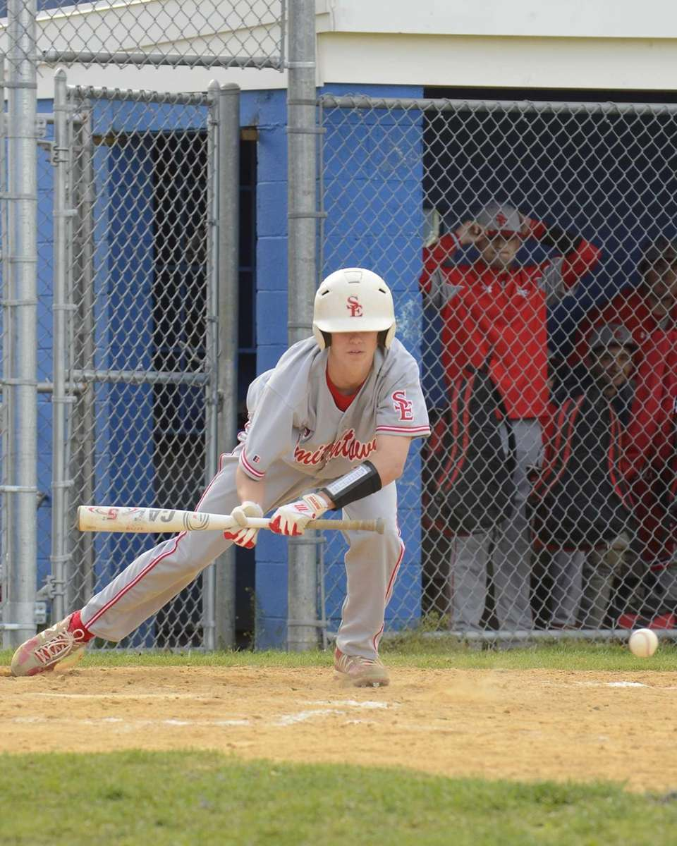 Smithtown East's James Myers lays down a bunt