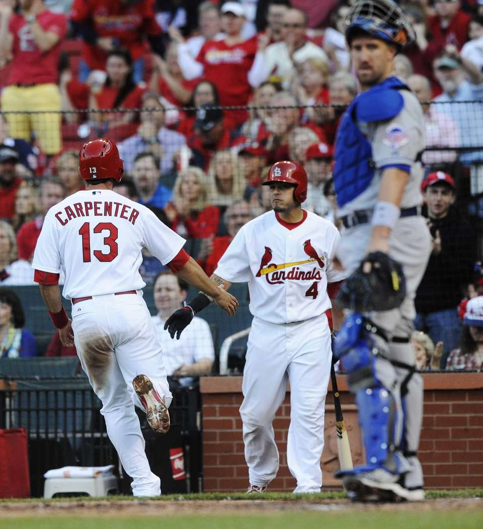 The St. Louis Cardinals' Matt Carpenter (13) is